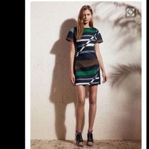 Derek Lam Geo Abstract Stripe Short Sleeve Sheath